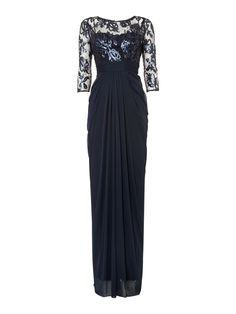 Adrianna Papell Long sleeve embroidered bodice dress $210.00 AT vintagedancer.com
