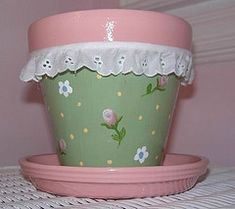 Chic Terra Cotta Pot - don't care for the lace but love the way the pot is painted.