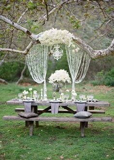 Photo: Lavender & Twine via The; Ah, this is a seriously breathtaking outdoor wedding idea! We love the way crystals pair with earthy elements of nature.