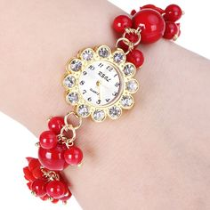 $5.80 Sunflower Stylish Quartz Watch with Diamonds Round Dial and Chain Watch Band for Women