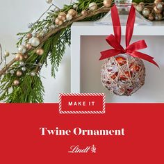 We filled these homemade ornaments with Lindor Milk Chocolate Truffles for a pop of festive colour. #lindtheseason #decorate #christmasdecor #christmasideas #craftideas #ornament #videodiy #twine #lindor #lindt #truffles #chocolate #diy #christmas #easy