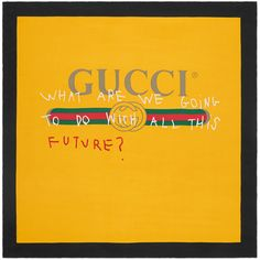 Gucci Gucci Coco Capitán Print Silk Scarf ($360) ❤ liked on Polyvore featuring men's fashion, men's accessories, men's scarves, accessories, men, scarves, yellow, mens silk scarves and mens scarves