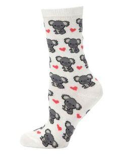 White Koala Heart Print Socks