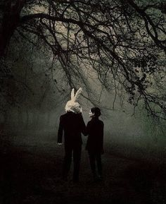 Easter Bunny enters the dark gothic woods with his date
