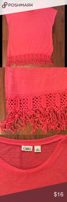 Crochet trimmed tunic or swim cover. Pretty shade of coral.  Crochet trimmed burnout top.  Wear as a tunic or swimsuit cover up. Cato Tops