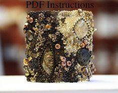 Items similar to Bracelet tutorial. Advanced Instructions for Freeform Peyote Stitch Bracelets. on Etsy Bead Embroidered Bracelet, Beaded Cuff Bracelet, Bead Embroidery Jewelry, Beaded Embroidery, Cuff Bracelets, Embroidery Bracelets, Peyote Beading, Bangles, Bracelets