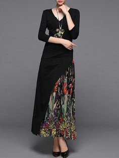 Asymmetric Paneled Cotton-blend Maxi Dress