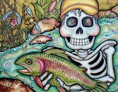Lisa Luree art Original TROUT FISHING Day of the Dead fisherman painting OOAK  #LisaLureeOriginalpainting