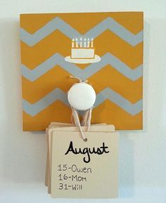Love this simplified version of the birthday board. Maybe magnetize & hang on fridge!