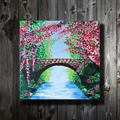 $60 · Lovely Reminder: This Small painting shows lovely spring flowers with a bridge. Spring Blossoms are so beautiful. Gloss medium is been used here along with acrylic paints to add some texture…  More Small Canvas Paintings, Small Canvas Art, Simple Acrylic Paintings, Mini Canvas Art, Acrylic Painting Canvas, Acrylic Art, Floral Paintings, Art Paintings, Portrait Paintings