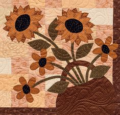 Detail of 'On a Prairie Corner' quilt by Jeanne Large, Shelley Wicks