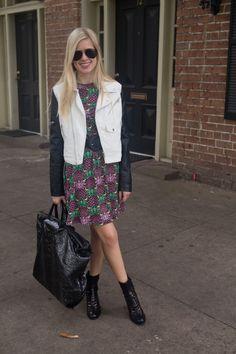 Moto Jacket + Summery Dress