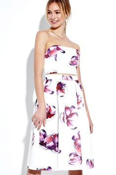 White Sexy Wrapped Chest Random Floral Print Cut Out Midi Dress