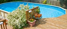 Installing An Above Ground Pool Deck - Paradise Pools Mart Above Ground Pool Decks, Above Ground Swimming Pools, In Ground Pools, Patio Plan, Pool Deck Plans, Backyard Pool Landscaping, Backyard Landscaping, Landscaping Ideas, Paradise Pools