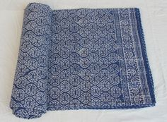 Hand Block Anokhi Print Indigo Blue 100%Cotton Kantha Bed Cover Throw Queen size