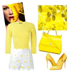 """yellow "" by nansylovesfashion on Polyvore featuring Dolce&Gabbana and Alexander McQueen"