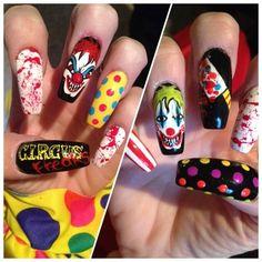 Killer clowns by Oli123 - Nail Art Gallery nailartgallery.nailsmag.com by Nails Magazine www.nailsmag.com #nailart