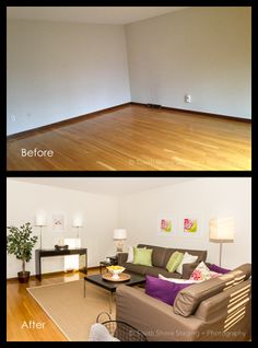 Before and After - Living Room Real Estate Photography, Beautiful Space, Staging, Corner Desk, Living Room, Interior Design, Inspiration, Furniture, Home Decor
