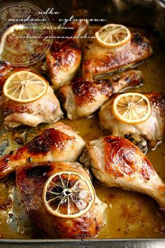 Honey Chicken - Lemon  4 chicken legs or breasts with skin 2 cloves of garlic juice and zest of organic lemons (niepryskanej) 1 tablespoon honey 1 tablespoon olive oil 1 teaspoon herbs de Provence or dried oregano