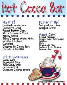 Hot Cocoa Bar ideas (i like the menu, not crazy about the look.) Hot Cocoa Bar ideas (i like the menu, not crazy about the look. Holiday Treats, Christmas Treats, Holiday Parties, Christmas Fun, Holiday Recipes, Xmas, Christmas Coffee, Christmas Party Ideas For Adults, Christmas Service