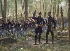 """Hold at All Costs"" by Bradley Schemel: Vincent to Chamberlain on the arrival of the 20th Maine at Little Round Top, Gettysburg, July 2, 1863"