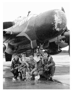 Project Thunderstorm P61 Black Widow, crew  pose with Hail Damaged Radome