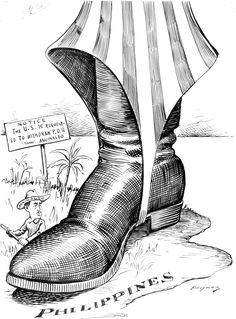 "FILIPINO WAR: In this cartoon, the first thing that I can see is the small island of the Philippines, with a huge red and white striped pant covering over a large black military-like boot. In the background there is open water, grass and a few large trees. A sign says, ""NOTICE The U.S. is requested to withdraw P.D.Q. (signed) Aguinaldo"" Underneath the boot is Aguinaldo with a shovel, being squashed by the large boot."
