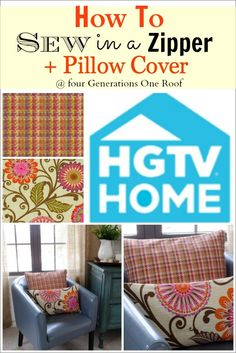 How to sew a zipper in a pillow cover. Quick and Easy tutorial using fabric by HGTV HOME. Four Generations One Roof