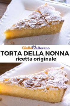 Torta della nonna: due scrigni di pasta frolla racchiudono una golosa crema pasticcera ricoperta di pinoli! Scopri qui la nostra ricetta! #torta #nonna #cake #pie #tart #custard #sweet #dessert #dolce #ricetta #easy #quick #recipe #facile #veloce #giallozafferano [Easy custard stuffed pie recipe - Grandma's cake recipe] No Bake Desserts, Easy Desserts, Dessert Recipes, Tarte Tartin, Torte Cake, Sicilian Recipes, Oreo Dessert, Italian Desserts, Sweet Tarts