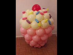 cupcake balloon tutorial How to make a giant cupcake out of balloons - YouTube