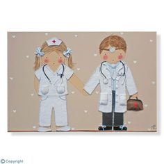 Cuadro infantil personalizado: Una parejita de médicos (ref. 12088-01)