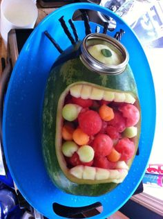 Getting ready for SpongeBob bash? Make a DIY Plankton fruit bowl out of a watermelon!