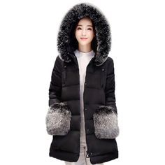 38.99$  Buy now - http://alinaf.shopchina.info/go.php?t=32702683177 - 2017 winter wadded jacket women large fur collar medium-long cotton-padded jacket parka plus size winter coat women PW0293 38.99$ #buyininternet