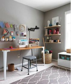 I like the gray on the walls. It looks very calm. Also all the open space, though I know that I will never have this much open space in my studio! Via Aparmenttherapy.com Craft1_rect540