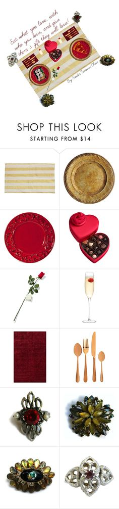 """Romantic Dinner"" by heidi-calamia-galati ❤ liked on Polyvore featuring Godiva, Hanky Panky, LSA International, Surya, Viners, vintage, women's clothing, women, female and woman"