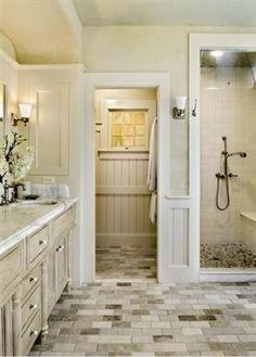 A beautifully designed master bathroom in neutral tones