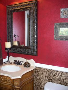 Safari style bathroom with Leopard print accentsDesign