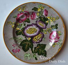 Brown Transferware Hand Enameled Plate Antique Wedgwood Hollyhock Purple & Pink