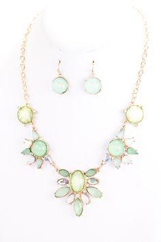 Mint Jewel Acrylic Statement Necklace