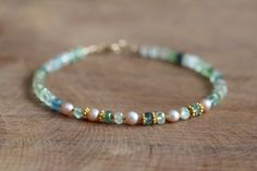 Green Tourmaline Bracelet with Pearls & Gold Vermeil, Delicate Multi Gemstone Jewelry, Green Tourmaline Jewelry, Green Gemstone Bracelet by MoonLabJewelry on Etsy https://www.etsy.com/listing/205255069/green-tourmaline-bracelet-with-pearls