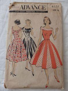 Vintage Advance 8551 Sewing Pattern 1950s Dress Size 10 sld 21.5+3 5bds 2/27/15