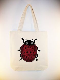 Vintage Ladybug illustration on Canvas Tote with by Whimsybags