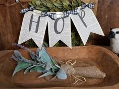 "This adorable farmhouse Easter ""HOP"" bunting sign made from old vintage books will make everyone envy your Easter decor. X (sign) See total length with tails Burlap Bunting, Fabric Bunting, Bunting Garland, Buntings, Bunting Tutorial, Bunting Pattern, Halloween Bunting, Halloween Party Decor, Christmas Fabric"