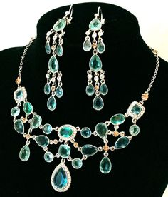 Carolee Chandelier Necklace and Earrings Set Aqua & Green Crystals Silver tone #Carolee #Chandelier
