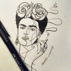 frida portrait fridakahlo ink on Instagram