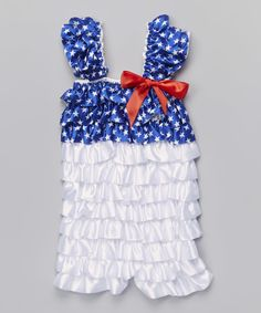 This Blue & White Star Ruffle Romper - Infant & Toddler by Ruffles by Tutu AND Lulu is perfect! #zulilyfinds