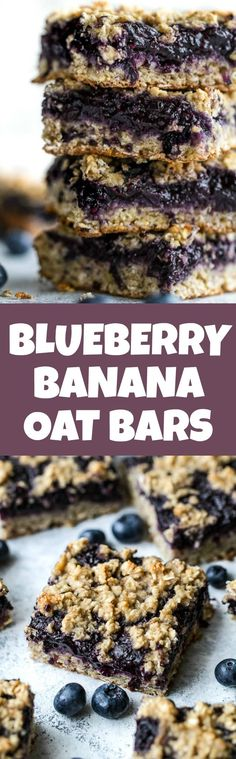 Blueberry Banana Oat Bars - you'd never believe that these soft and chewy bars are vegan, gluten-free, refined sugar-free, and made without any butter or oil! The perfect healthy breakfast or snack!   runningwithspoons.com