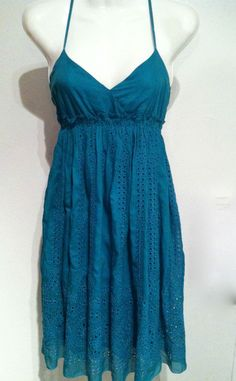New MAXX STUDIO Silk Cotton Peacock Blue Eyelet Spring Sun Dress Size S