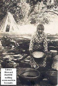 Yosemite - Mono Lake Paiute Maggie making acorn mush in Yosemite by Yosemite Native American, via Flickr