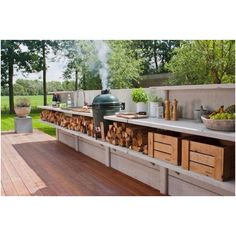 Outdoor kitchen - very cool, separate from side porch etc.  Add oyster pit.